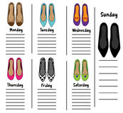 Woman weekly, daily planner template with fashionable shoes. Organizer, diary, schedule with notes for females Royalty Free Stock Image