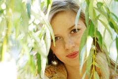Woman and weeping willow Stock Photo