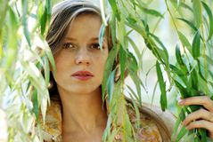 Woman and weeping willow Royalty Free Stock Photo