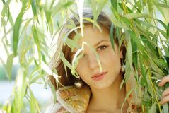 Woman and weeping willow Stock Photography