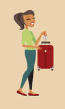 Woman weighing her suitcase Stock Photo