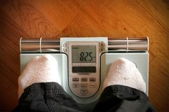 Woman weighing scales concern about the health royalty free stock photo