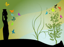 Woman with weight. Abstract colored illustration with woman shape carrying weight on her head, plants and butterflies Stock Images