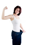 Woman weight loss Royalty Free Stock Photography