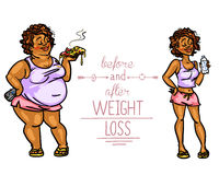 Woman before and after weight loss Stock Photo