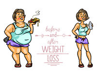 Woman before and after weight loss Stock Photography