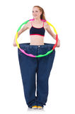 Woman in weight loss concept isolated Stock Image