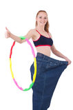 Woman in weight loss concept isolated Stock Photo