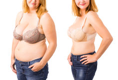 Woman before and after weight loss. Female before and after weight loss Royalty Free Stock Photography