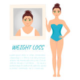 Woman before and after weight loss Royalty Free Stock Photography