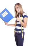 Woman Weight Loss Plan Thumbs Up Stock Photography