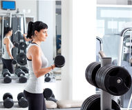 Woman with weight training equipment on sport gym. Woman with weight training equipmant on sport gym club Royalty Free Stock Images