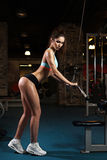 Woman weight training at gym royalty free stock photos