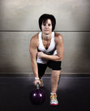 Woman weight training Kettlebell royalty free stock photo