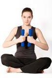 Woman with weights royalty free stock images