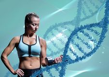 Woman with weights with blue  dna chains Stock Photography