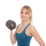 Woman weights exersice. Exercising, fit healthy woman doing exercise with weights stock photos