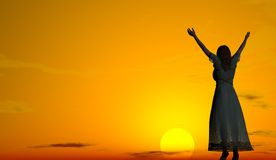 Woman welcoming the sunrise Royalty Free Stock Photos