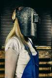 Woman in Welder Royalty Free Stock Image