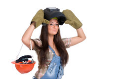 Woman in welder mask and gloves Royalty Free Stock Photos