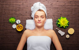 Woman in wellness Stock Photography