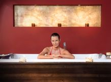 Woman in wellness bath Royalty Free Stock Photography