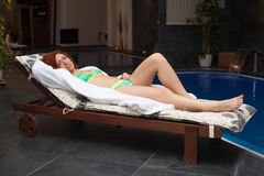 Woman in wellness and spa swimming pool Royalty Free Stock Photos