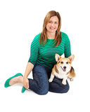 Woman with Welsh Corgi Dog Royalty Free Stock Photography