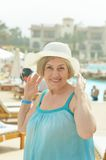 Woman went to a resort vacation Royalty Free Stock Images