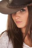 Woman western hat close see one eye Royalty Free Stock Images