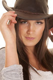 Woman western hat close touch Stock Images