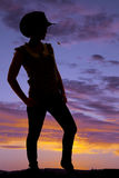 Woman western hat straw mouth silhouette Royalty Free Stock Photos