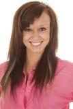 Woman western pink shirt close smile Royalty Free Stock Photos