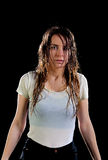 Woman wet black background royalty free stock image