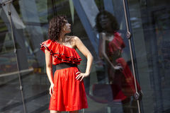Woman in wet dress reflect. At sunny day Royalty Free Stock Photos