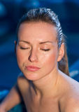 Woman with wet face Royalty Free Stock Photography