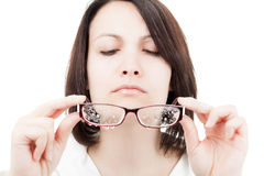 Woman with Wet Glasses Stock Photo