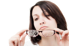 Woman with Wet Glasses Royalty Free Stock Photos