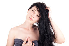 Woman with wet hair Royalty Free Stock Images