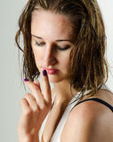 Woman with wet hair Stock Photos