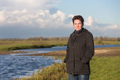 Woman in a wetland landscape in the Netherlands Royalty Free Stock Image
