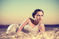 Woman on wheat Royalty Free Stock Photography