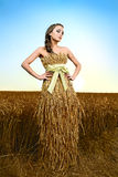 Woman in wheat field. Woman dressed in wheat field under blue sky Royalty Free Stock Photography
