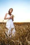 Woman in wheat field Stock Image