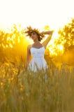 Woman on wheat field Stock Photos