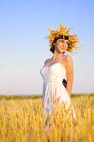 Woman on wheat field Royalty Free Stock Photo