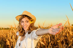 Woman in a wheat field Royalty Free Stock Photos