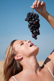 Woman in wheat field eating grapes. Summer picnic. Royalty Free Stock Image