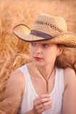 Woman in the wheat field Royalty Free Stock Photography