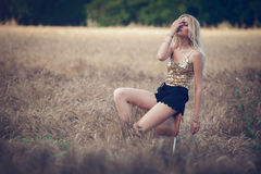 Woman in wheat field Stock Photos